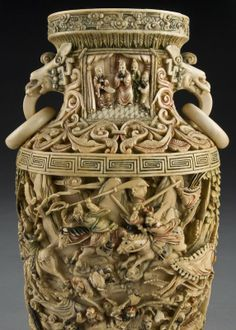 200: Chinese Qing carved polychrome ivory vase,