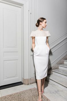 Are you looking for a Scandi wedding dress? You'll love the latest collection of Maria Fekih wedding dresses, modern, minimal, chic wedding dresses. Chic Wedding Dresses, Wedding Dresses Plus Size, Colored Wedding Dresses, Wedding Dress Midi, Reception Dresses, Gown Wedding, Lace Wedding, Wedding Dress With Pockets, Fit And Flare Wedding Dress