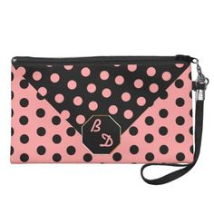 """Wild About Polka Dots_Pink on Black_Personalized - With customizable text fields for your initials against a background of super-sized polka dots (black on pink & vice versa) this light-hearted happy retro look makes this wristlet a """"must have"""". See coordinating products @ www.zazzle.com/icondoit+pink+polka+dots+gifts?rf=238155573613991097&tc=pnt #polkadotwristlets #retrowristlets #monogrammedwristlets"""