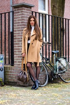 Camel Jacket and Purple Benches — Negin Mirsalehi