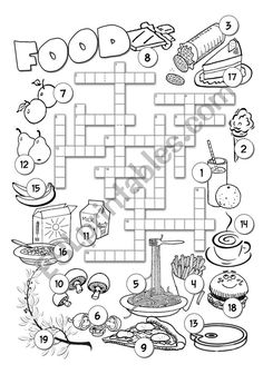 A crossword to practise regular and irregular plurals and to revise some basic vocabulary. Answers are included. English Lessons, Learn English, Plurals Worksheets, Ingles Kids, Irregular Plurals, Family Worksheet, Food Vocabulary, English Exercises, English Reading
