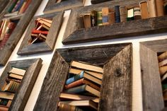 Recycled Old Books in art  with Recycled Light Frame Books