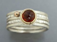 Silver and Gold Thin Stacking Rings with Rose Cut Orange Garnet - Set of 5 Rings, 14k Yellow Gold and Sterling Silver
