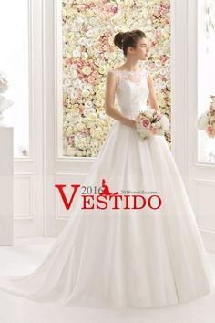 2017 una línea vestidos de boda de la cucharada con apliques de raso y flores hechas a mano