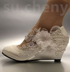 Lace white ivory crystal sequin daisy Wedding shoes Bride low wedges size 5-10.5
