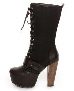 Nice vegan platform heels  Shoe Republic LA Fiorina Black Belted Lace-Up Platform Boots