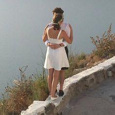 Love is in Caldera . Romantic Greece, by Greek to me ! Saint Valentine, True Love, Greece, White Dress, Romantic, Dresses, Fashion, Real Love, Greece Country