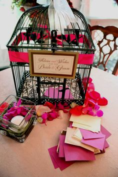 "Antique Style Bird Cages (17 & 13"" tall) Wedding Card Holders (2 cages) $24 set"