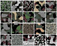 Camouflage Seamless Pattern Vector Clip Art – 4 Colours
