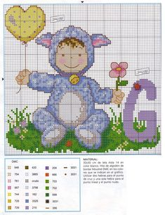 Baby in Costume Alphabet Cross Stitch Patterns P Cross Stitch Boards, Cross Stitch Letters, Cross Stitch For Kids, Cross Stitch Art, Cross Stitching, Abc For Kids, Kids Patterns, Embroidery Fonts, Baby Costumes