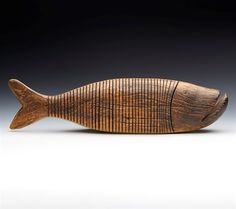 Superb Large Vintage Articulated Wooden Fish Sculpture 20Th C.