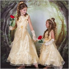 Belle from Beauty and the Beast Inspired Princess Dress - Wedding interests Beauty And The Beast Wedding Dresses, Beauty And The Beast Theme, Wedding Dresses For Kids, Making A Wedding Dress, Wedding Bridesmaid Dresses, Wedding Beauty, Wedding Ideas, Disney Inspired Wedding Dresses, Dream Wedding