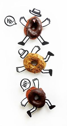 Printable Donut Buddies -- cute and easy to add to mini donuts at your summer party. Party Salads, Donut Party, Birthday Treats, Food Illustrations, Creative Food, Food Styling, Food Art, Kids Meals, A Table