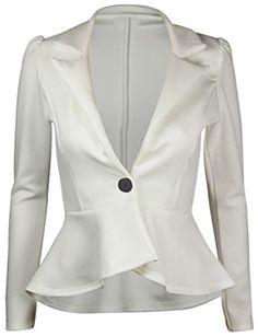 FashionMark Womens Plain Crop 1 Button Peplum Frill Blaze...