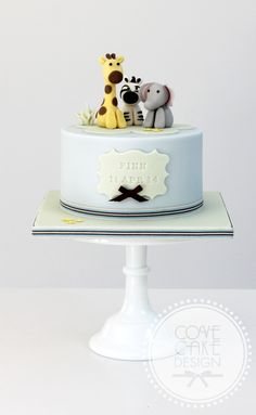 Baby zoo animals christening cake birthday cake