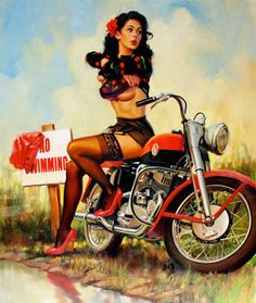 Love a Pin Up on a motorcycle!