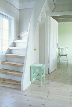 Curving staircase in a tight spot / Furniture Pøbel: A Look into the summer house ..