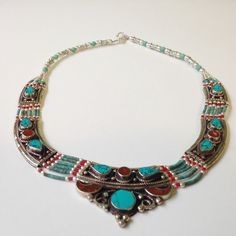 Ethnic handmade Tibetan turquoise coral necklace