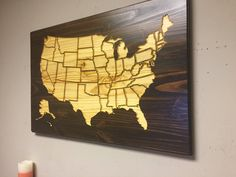 Personalized Wood Wall Art wooden us map wall art, wood carved, united states map with states