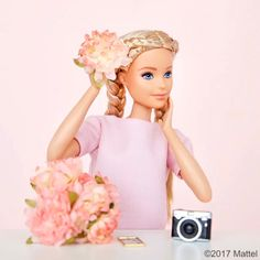 Beautiful barbie  Details:Baby Pink Tee,two French braids,Camera and Flowers!!! Hope you like it