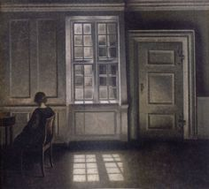 Interior (1909) by one of my favorite painters, the Dane Vilhelm Hammershoi. I always enjiy the moody and sober atmosphere and the deep existential fear caused by the faillure of any real inter-human communication. Very much an European Hopper avant la lettre.