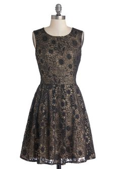 Art of Gold Dress by Yumi - Black, Gold, Floral, Party, Holiday Party, A-line, Sleeveless, Scoop, Better, Mid-length, Knit