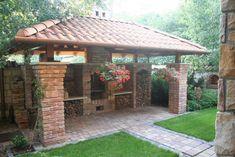 Pergola With Glass Roof Key: 6301180918 Backyard Pavilion, Pergola Patio, Backyard Patio, Backyard Landscaping, Pergola Ideas, Parrilla Exterior, Outdoor Oven, Outdoor Kitchen Design, Outdoor Living