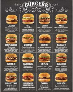 Image search result for cardapio - Burger Recipes Burger Menu, Gourmet Burgers, Burger Recipes, Beef Recipes, Cooking Recipes, Burger Bar, Fat Burger, Food Truck Menu, Food Menu