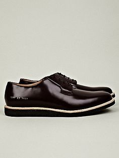 Fancy - Common Projects Men's Shiny Derby Shoe in burgundy at oki-ni