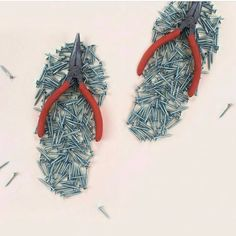 """Amazing DIY artworks from London based visual artist & maker Helga Stentzel """"DIY Flip Flops"""", paper, pliers and nails, ©️ Helga Stentzel Surrealism Photography, Conceptual Photography, Abstract Photography, Conceptual Art, Surreal Art, Macro Photography, Creative Photography, Experimental Photography, Water Photography"""