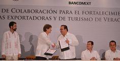 Javier Duarte agradeció al director de Bancomext, Enrique de la Madrid Cordero, por considerar a Veracruz como una opción para la inversión, ya que con este convenio, se apoya el desarrollo de proyectos que permitan el fortalecimiento de las empresas exportadoras y turísticas.