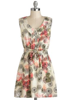Chrysanthemum Clad Dress by Tulle Clothing - Tan, Buttons, Casual, A-line, Sleeveless, Multi, Floral, Pockets, Belted, Collared, Short