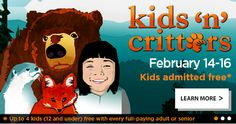 FREE KIDS N' CRITTERS EVENT Save the date! February 14 – 16, 2015, Northwest Trek is hostingKids n Critters –with FREE admission for up to 4 kids (ages 12 and under) per paying adult or senior. There will be FREEactivities, crafts, and special trailside encounters all weekendto match the theme. Activities are free and will …