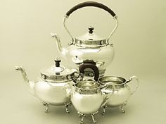 An exceptional, fine and impressive antique George V Scottish sterling silver four piece tea service; an addition to our diverse silver teaware collection. SKU: W9237 Price: GBP £2,950.00 http://www.acsilver.co.uk/shop/pc/Scottish-Sterling-Silver-Four-Piece-Tea-Service-Antique-George-V-67p6358.htm#.U-NbOM9OXcs