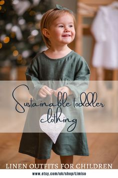 Elegant dress for baby and toddler made of linen. This timeless flower girl dress is perfect as a toddler church outfit for Easter or the first day of school dress. Ruffles make this dress laconic and adorable at the same time. Our ethical clothing brand specializes in sustainable kids fashion to provide an eco-friendly alternative to the mainstream clothing brands. We believe in slow fashion so all products are made with 100% certified and sustainable linen. Sustainable Style, Sustainable Living, Sustainable Fashion, Kids Fashion Boy, Toddler Fashion, Toddler Outfits, Ethical Clothing, Ethical Fashion, Slow Fashion