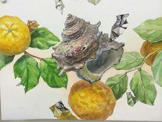 さ Shell Art, Colorful Drawings, Watercolor And Ink, Food Design, Art Images, Japan, Painting, Inspiration, Biblical Inspiration