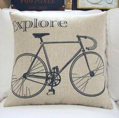 "18"" X18"" Cotton linen Bike Retro style decorative pillow case throw pillow cover cushion cover"