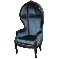 Blue Velvet Canopy Chair | From a unique collection of antique and modern chairs at http://www.1stdibs.com/furniture/seating/chairs/
