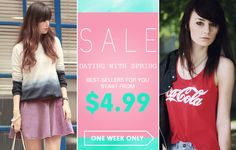 Dating with spring, all best-sellers for you! Over 100 styles, up to 40% off Start from $4.99 Time: 2/18/2014 ---2/23/2014 Don't miss, girls! Go: http://www.romwe.com/DATING-WITH-SPRING-c-454.html?Susie