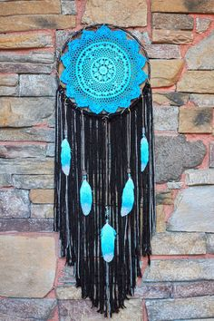 Custom turquoise, black and silver Dreamcatcher through desertmermaidstore.com