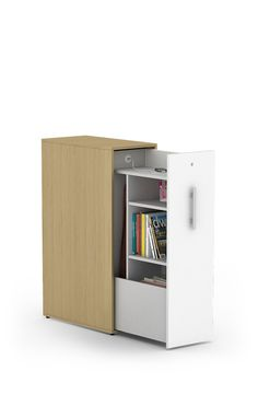 The Bahn Storage Tower maximizes vertical space, ideal for sit-to-stand adjustable work surfaces or when higher side privacy is desired.