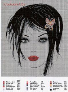 point de croix visage femme moderne - cross-stitch modern girl's face