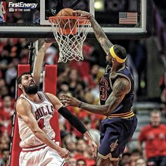 LeBron dunks the ball in Game 3 vs the Bulls. Lebron James Kyrie Irving, King Lebron James, King James, We Are The Champions, Nba Champions, Cleveland Cavs, Nike Bags, Sports Art, Sports Teams