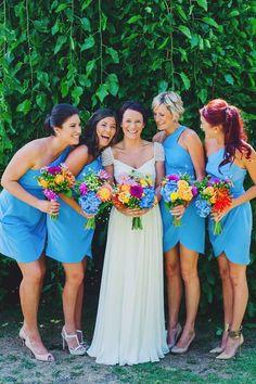 Azure blue bridesmaids dresses. Image by Tess Follett