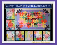 Bulletin Board on Respect with Student's Puzzle Artwork