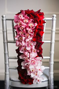 Floral wedding chair inspiration in shades of pink and red Wedding Chair Decorations, Wedding Chairs, Floral Centerpieces, Flower Arrangements, Floral Wedding, Wedding Flowers, Big Wedding Cakes, Luxury Wedding Decor, Passion Photography