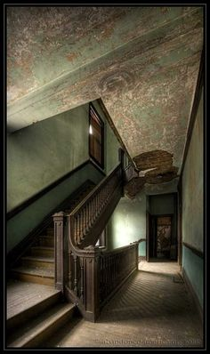 Abandoned boarding house - Matthew Christophers Abandoned America - Look at the craftsmanship in that stair rail...