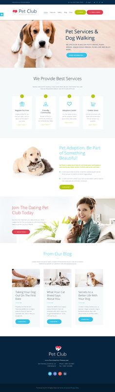 #Pet Club is an ideal WordPress theme if you seek to build a #website for pet store, veterinary clinic, dog training classes, animal shelters and pet hotels, dog / cat trainers, or pet caretakers, as well as adoption centers or animal community, including animal dating club!