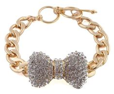 Goldtone with Clear Iced Out Large 3d Bow 8 Inch Cuban Chain Link 12mm Adjustable Bracelet JOTW