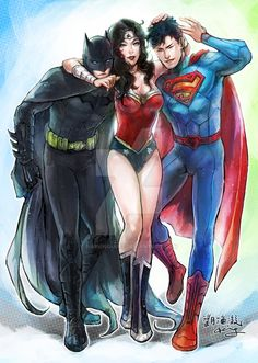 Trinity by Haining-art on DeviantArt Compañía super #Batman #WonderWoman…